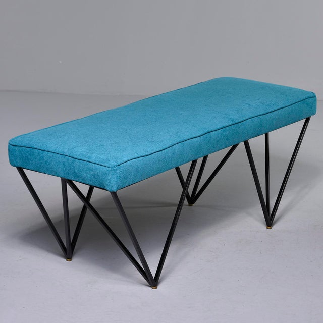 2010s Italian Mid-Century Style Bench With Teal Fabric and Black Metal Legs For Sale - Image 5 of 10
