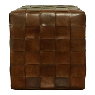 Leather Square Pouf Ottoman