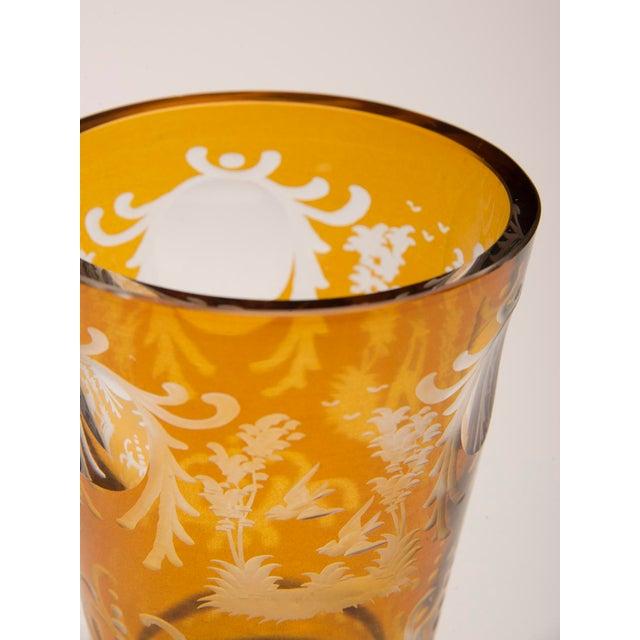 Vintage English Bohemian Cut Glass Amber Vase circa 1950 - Image 2 of 7
