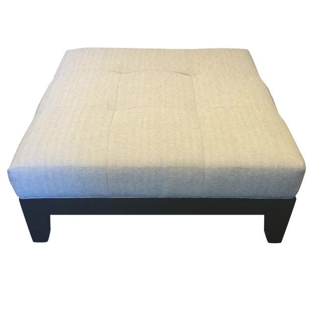 Modern Belgian Linen Upholstered Ottoman - Image 1 of 8