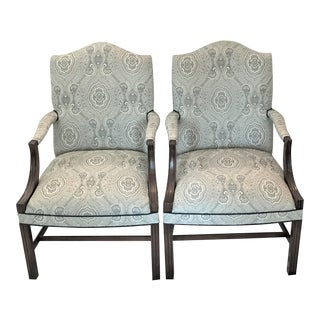 1960s Vintage George III Regency Library Armchairs- A Pair For Sale