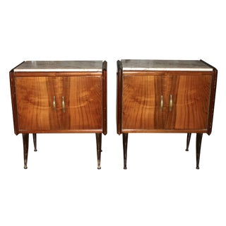 20th Century Italian Nightstands With Marble Top - a Pair For Sale