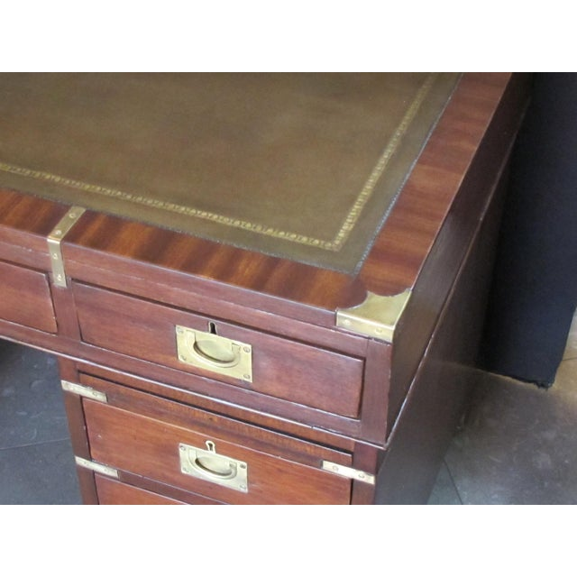 English Mahogany 9-Drawer Campaign Desk With Sage Leather Top For Sale - Image 4 of 6