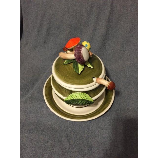 Figurative Vintage Majolica Mushroom Soup Tureen For Sale - Image 3 of 13