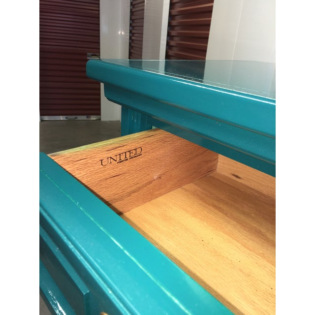 Immaculate vintage dresser which was never used. Lacquered in a glossy jade green. Professionally lacquered