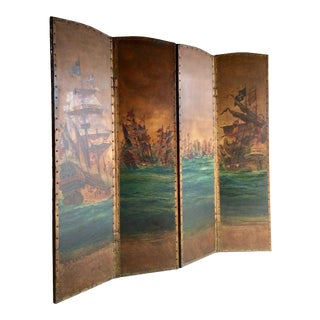 Antique Leather Four Fold Screen Hand-Painted Naval Interest, Early 20th Century For Sale