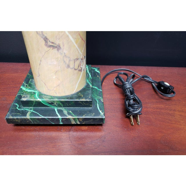 Jacques Lamy 1980's French Faux Marble Lamp Designed by Jacques Lamy For Sale - Image 4 of 6