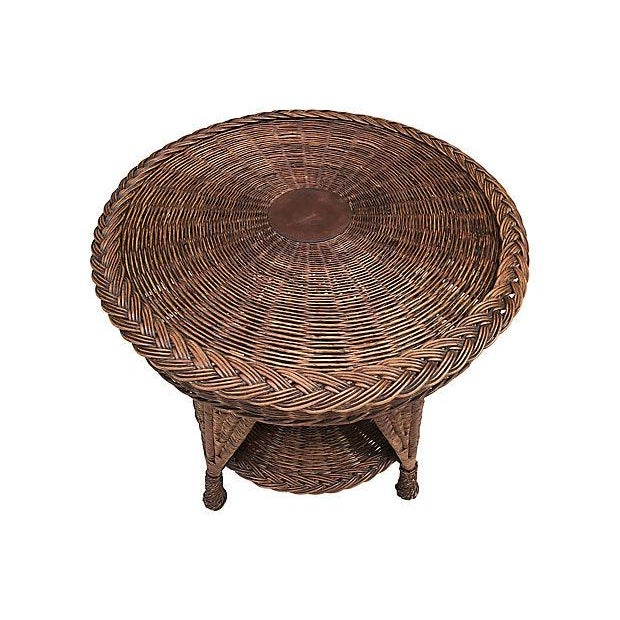 Antique Wicker Heywood Wakefield Table For Sale - Image 9 of 10