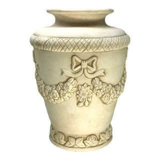 Late 20th Century Neoclassical Antique Washed Bisque Pottery Raised Design Vase For Sale