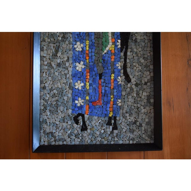 This is an incredible Evelyn Ackerman mosaic panel in PERFECT condition. All original, vintage with a simple black frame....