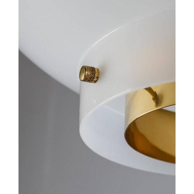 Gold Yki Nummi White Plexiglass and Brass Pendant for Orno, Finland, 1960s - 2pcs For Sale - Image 8 of 9