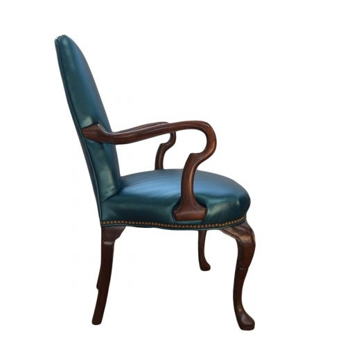 Queen Ann Style Teal Armchair - Image 2 of 3
