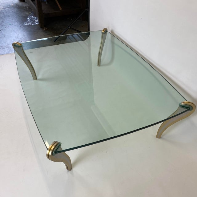 Gold Postmodern Metal & Glass Studio Made Coffee Table by Peter Handler For Sale - Image 8 of 13