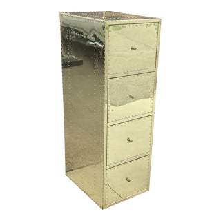 1970s Mid Century Modern Brass Studded Four Drawer Filing Cabinet For Sale