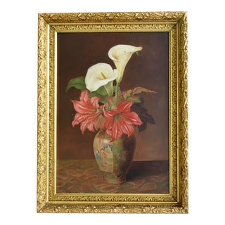 Antique Flowers Oriental Vase Still Life Painting For Sale