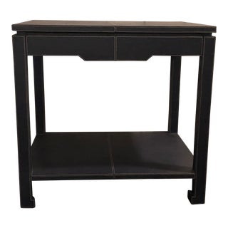 Mid-Century Modern Jonathan Adler Blue Leather Preston Side Table For Sale