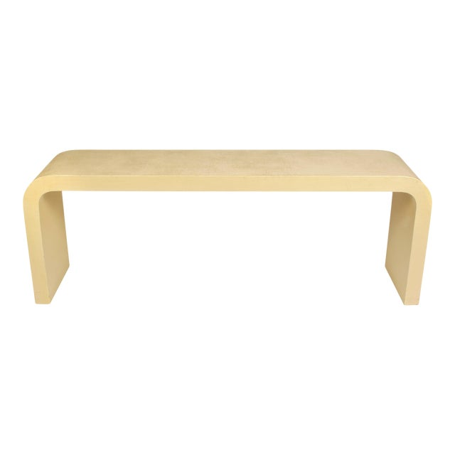 """Modern Karl Springer Style Linen Wrap Console """"Waterfall"""" For Sale"""