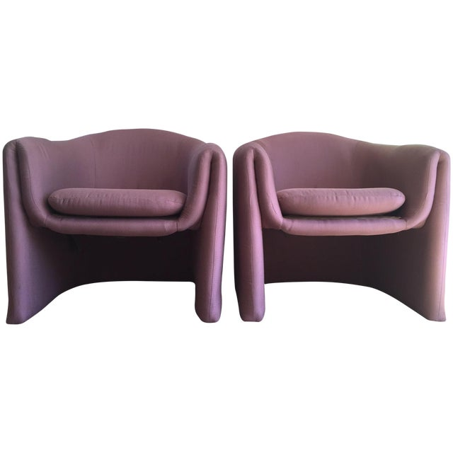 Carter Sculptural Mauve Lounge Chairs - A Pair - Image 1 of 7