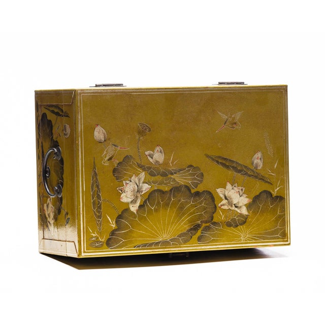 Hand-Painted Lotus Scene Chartreuse Leather Box on Patinated Brass Stand as Side Table by Lawrence & Scott For Sale In Seattle - Image 6 of 13