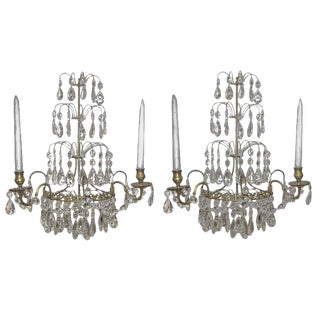 1920s Swedish Gustavian Style Crystal and Brass Candle Wall Sconces - a Pair For Sale