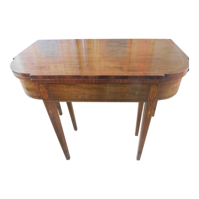 Antique Demi-Lune Mahogany Marquetry Extension Dining Table For Sale