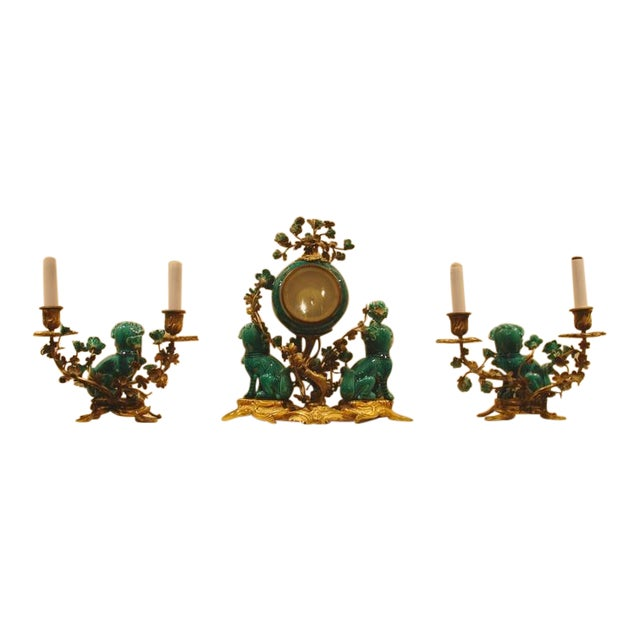 A Chinese Porcelain and French Ormolu Mounted Clock Garniture - Image 1 of 8