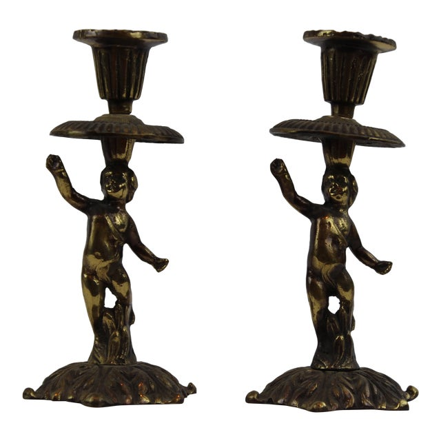 Pasargad DC Vintage French Bronze Sculptures Candle Holders - a Pair For Sale