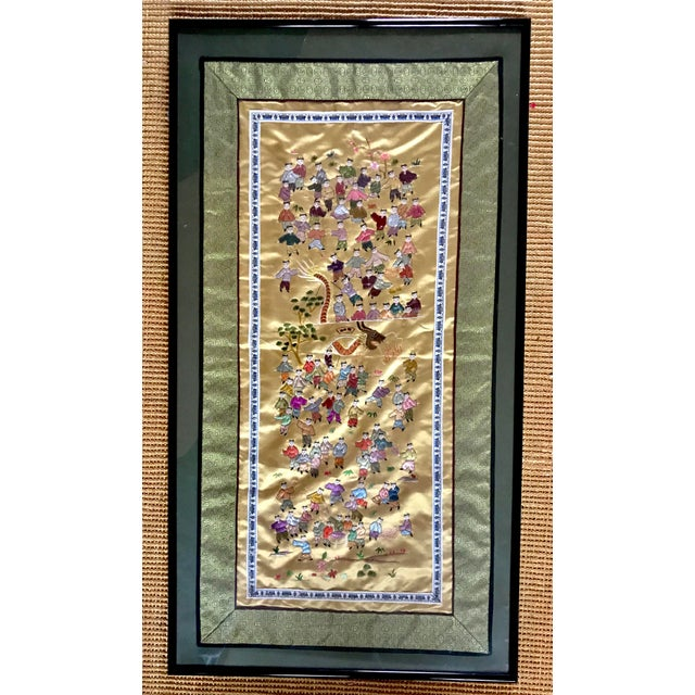 How charming is this? This vintage embroidered silk tapestry from China shows a traditional scene of 100 boys at play. On...