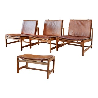 Arne Karlsen & Peter Hjort Leather & Wicker Lounge Chairs with Ottoman- 4 Pieces For Sale