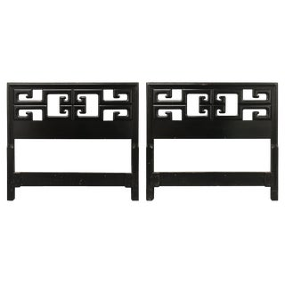 Vintage Chinoiserie Greek Key Twin Headboards — a Pair For Sale