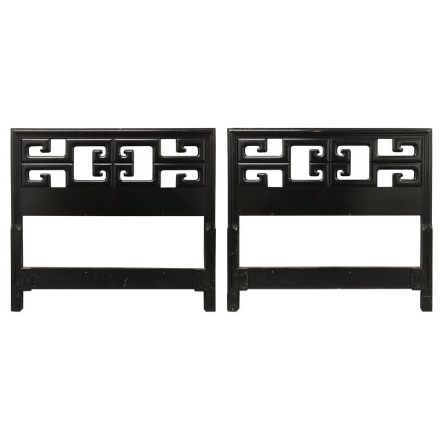 Vintage Chinoiserie Greek Key Twin Headboards - a Pair For Sale