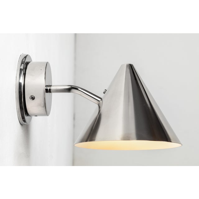 Mid-Century Modern Hans-Agne Jakobsson 'Mini-Tratten' Polished Nickel Outdoor Sconces - a Pair For Sale - Image 3 of 8