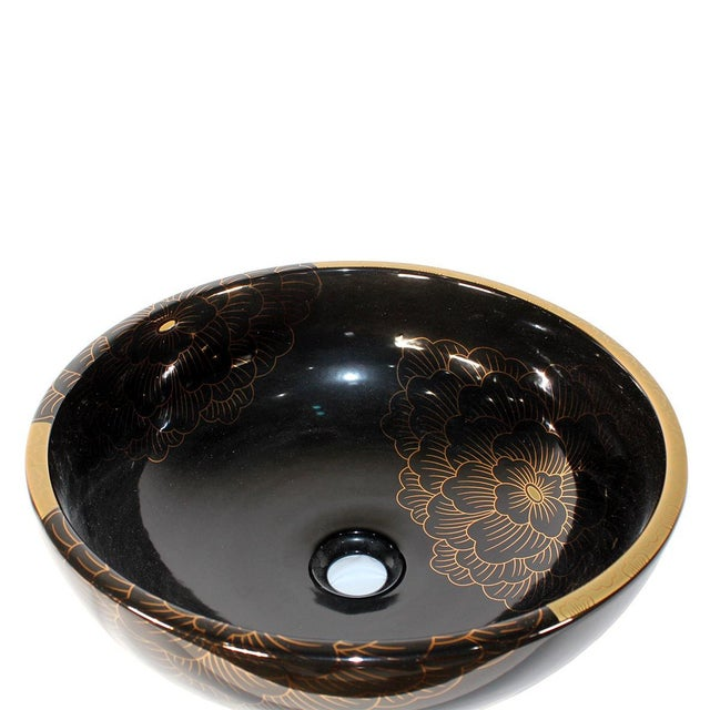 Modern Pasargad DC Black & Gold Motif Sink Bowl For Sale - Image 4 of 5