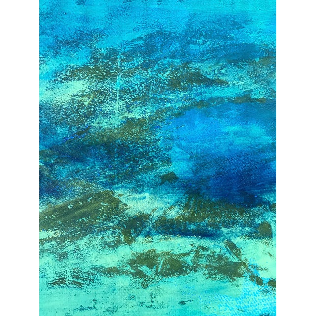 "1980s Original Bay Area Artist ""Blue Green Pt. 1"" For Sale - Image 4 of 7"