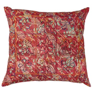 Indian Embroidered Block Print Pillow For Sale