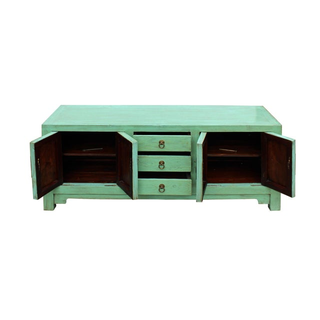 Distressed Teal Blue Wood Pattern Low Console Table Cabinet For Sale - Image 4 of 9