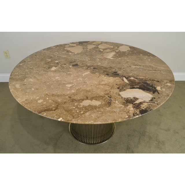 "Warren Platner for Knoll 54"" Round Marble Top Dining Table For Sale In Philadelphia - Image 6 of 13"