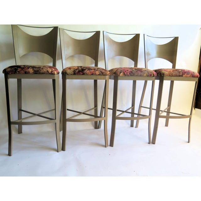 """X"" Support Flat Iron Bar Stools - Set of 4 For Sale - Image 4 of 5"
