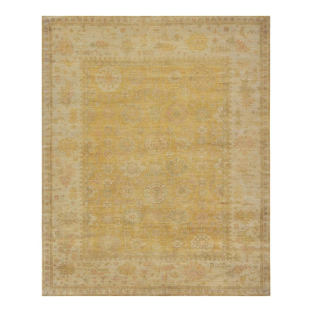 """Turkish Handwoven Gold Wool Oushak Rug - 8'5"""" X 10'5"""" For Sale"""