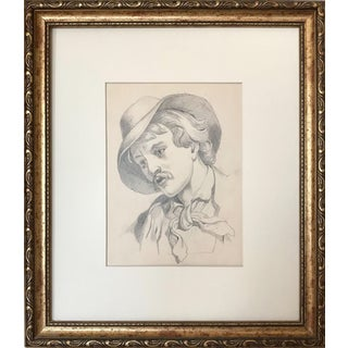 19th Century Antique Graphite Drawing of a Provincial Man For Sale