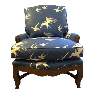 A. Rudin No. 464 Lounge Chair Upholstered in Sanderson Fabric For Sale