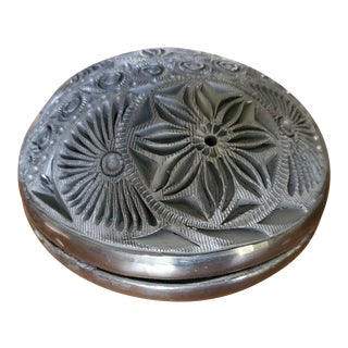 1960s Black Clay Carved Box For Sale