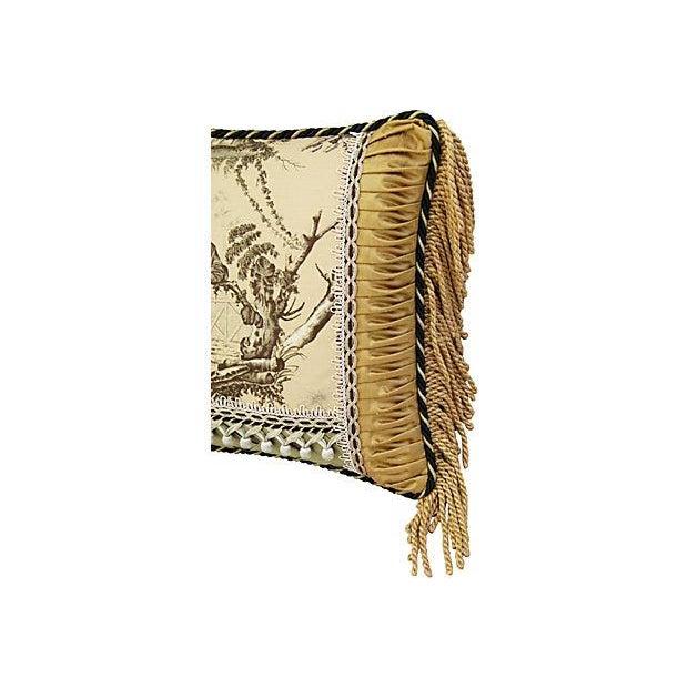 Custom Brunschwig & Fils Toile Boudoir Pillow - Image 3 of 6