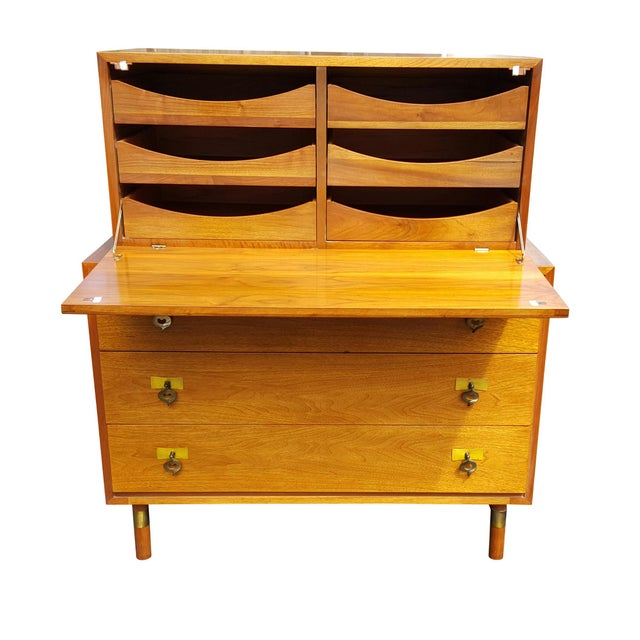 Classic and beautiful, mid century modern dresser, completed in a chest on chest style. It has three spacious, smooth...