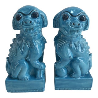 1960s Vintage Monumental Turquoise Foo Dogs - a Pair For Sale