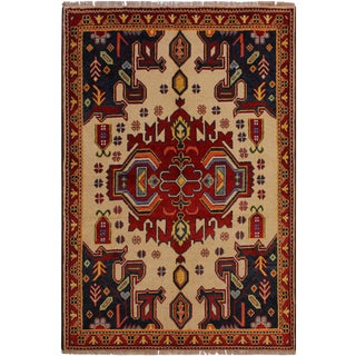 Southwestern Balouchi Florenci Ivory/Rust Wool Rug - 4'11 X 6'6 For Sale