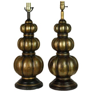 Mid-Century Bronze Patina Gourd Lamps - A Pair For Sale