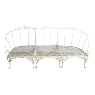 Vintage Mid Century Wrought Iron Sectional Garden/Patio 3 Piece Sofa/Settee Salterini or Woodard For Sale