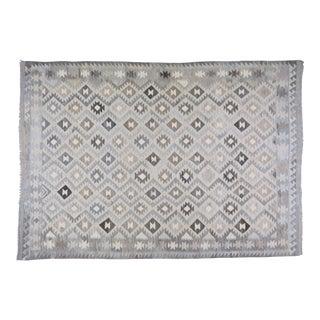 "Afghan Tribal Natural Color Hand Made Organic Wool Maimana Kilim,6'10""x9'9"" For Sale"