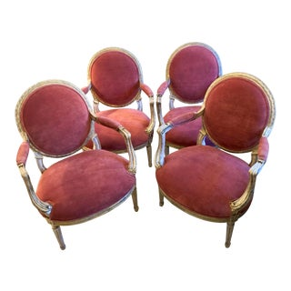Mid-Century Armchairs With Pink Velvet and Gold Patina - Set of 4 For Sale